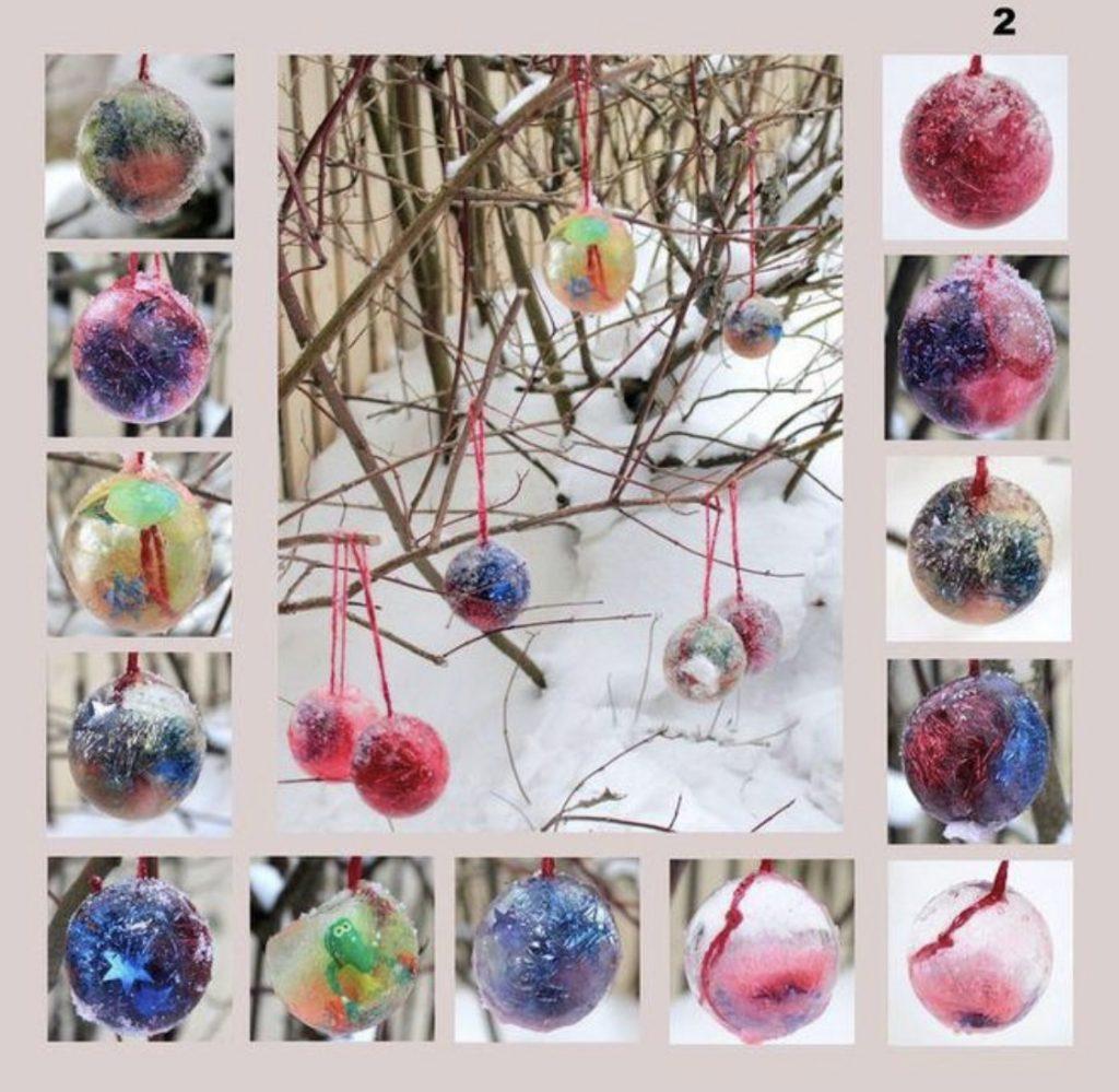 разноцветные ледяные шарики на ёлку