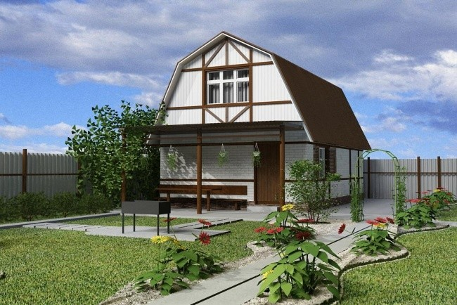 дом белого цвета с коричневой крышей