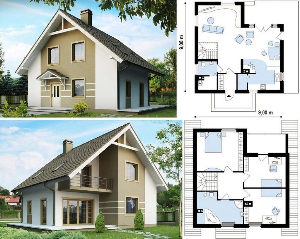 два рисунка дома и два внутренних плана дома