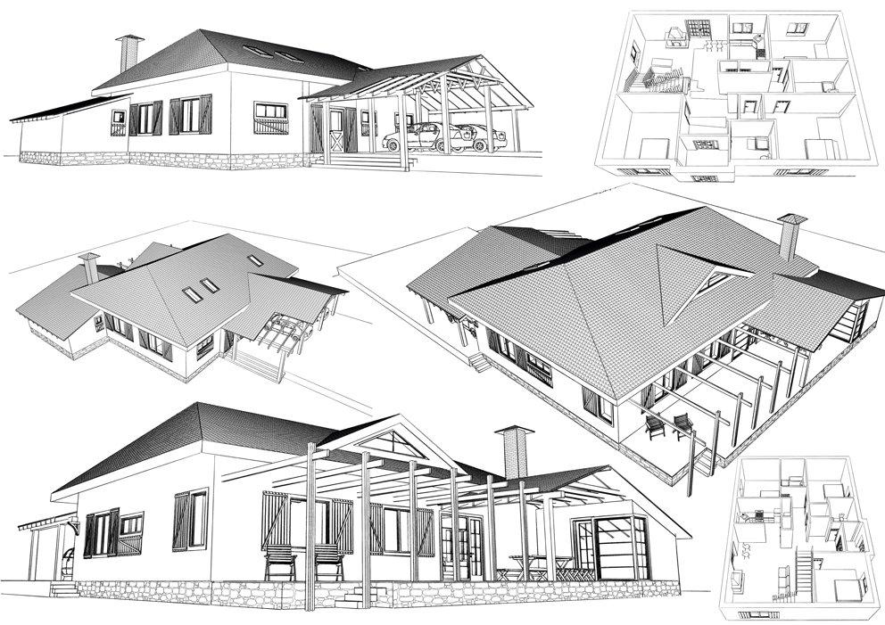 шесть чертежей дома