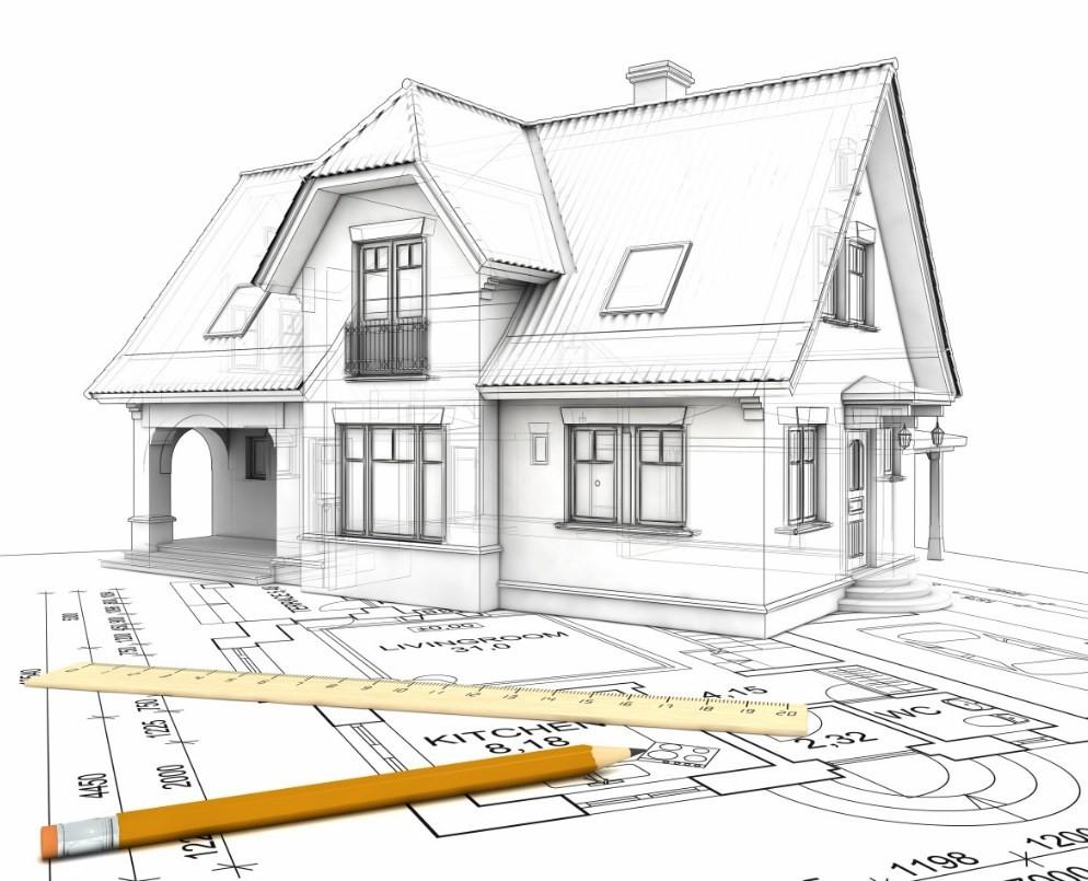 объёмная модель дома стоит на чертеже рядом с линейкой и карандашом