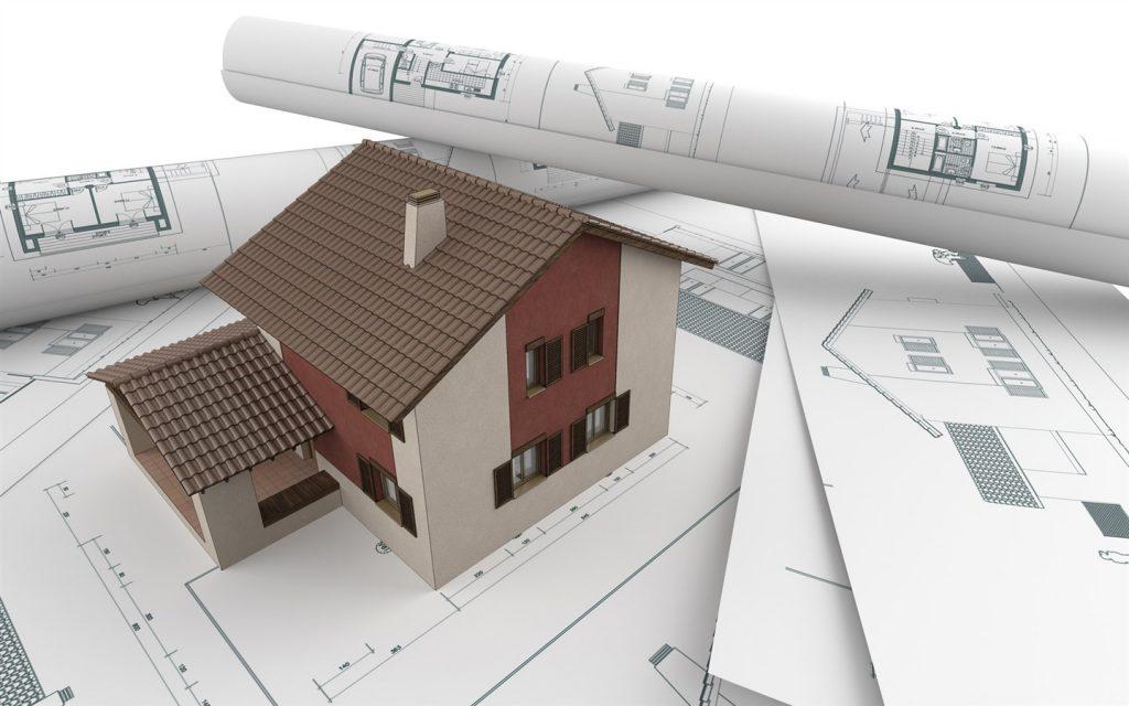 объёмная модель дома стоит на чертежах
