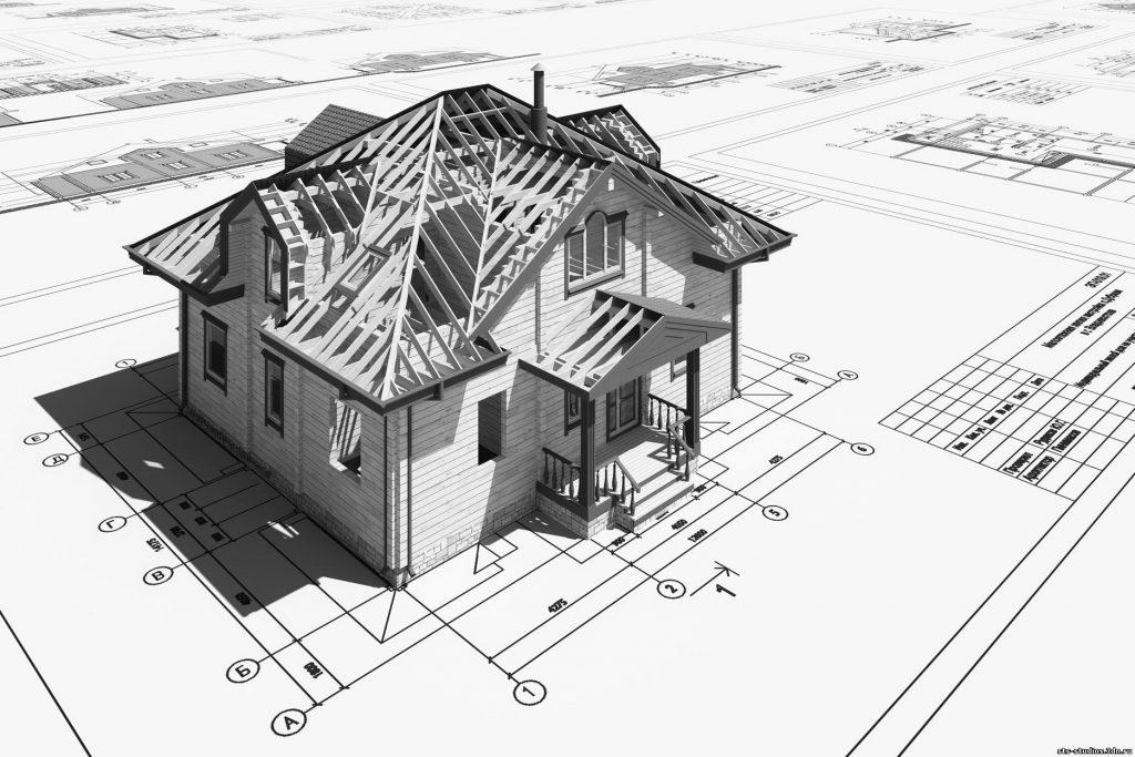 объёмная чёрно-белая модель дома стоит на чертеже